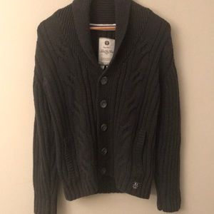 Nordstrom Under Two Flags gray cable cardigan Sz S